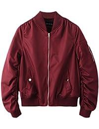 SaiDeng Color Puro Chaqueta Corta Jacket Bomber Punk Estilo Cazadora Biker Para Mujer