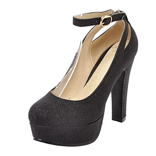 RAZAMAZA Femmes Brillant Talons Hauts Fete Chaussures Black