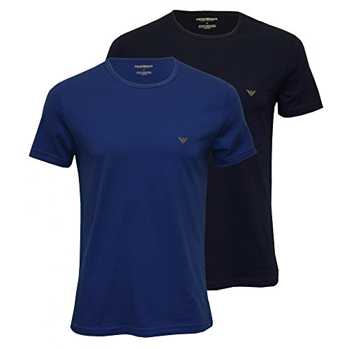 Emporio Armani Mens Armani Two Pack T-Shirt in Navy and Blue