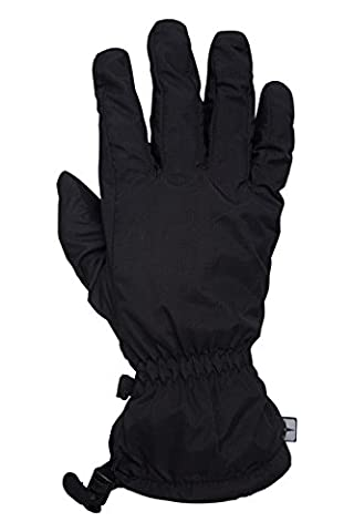 Mountain Warehouse Classic Waterproof Mens Gloves - Textured Palm & Fingers with Ripstop Fabric & Quick Release Buckle - Suitable for Walking & Most Outdoor Activities Black Large