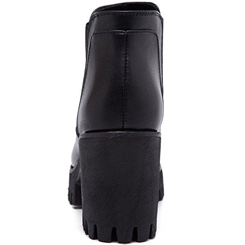 Oasap Femme Bottes Hauteur Cheville Plate-forme Talon Bloc A Enfiler Côté Elastique Black