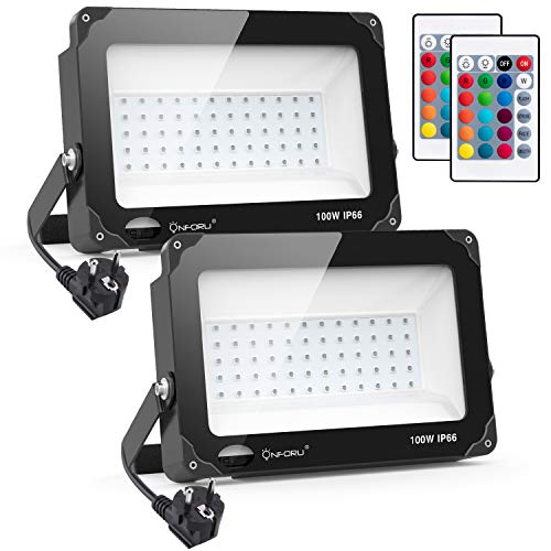Onforu 2x 100W RGB LED Foco de Colores, Proyector IP66 Impermeable, Control Remoto Inalámbrico de 21 Teclas con 11 Colores y 2 Modos, Luz Interior y Exterior con Función de Memoria y Temporizador
