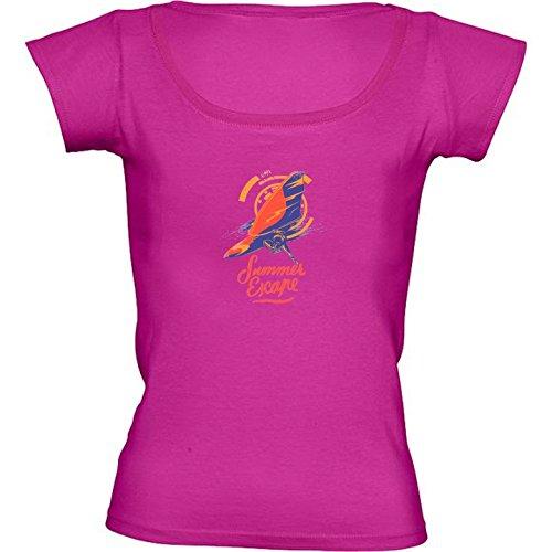 T-shirt Rosa Fuschia Girocollo Donne - Taglia M - Surfer Sport Surf by WonderfulDreamPicture