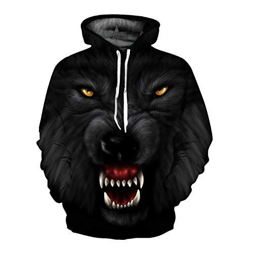 Unisex Winter 3D-Mode-Persönlichkeit Pullover Hoodie, lässiges leichtes Sweatshirt und Tasche S-XXL,666,M