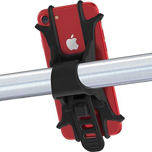 Handyhalterung Fahrrad, Mochatopia [Anti-Shake] Fahrradhalter Motorradhalter Universal Silikon Radsport für iPhone X//8/7/6S Plus, Galaxy S9, S8,S7, 4,0 - 6,0 Zoll Smartphones, [Schwarz]