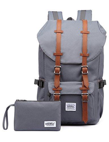 """Rucksack Damen Herren Vintage Studenten Backpack KAUKKO 17 Zoll Laptop Rucksack für 15"""" Notebook Lässiger Daypacks Schüler Backpacks Schultaschen of 2 Side Pockets für Wandern Reisen Camping"""