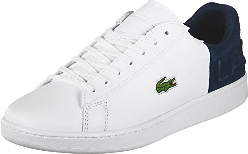 5c897e59c411 Lacoste Men s Carnaby EVO 318 6 Leather Suede Trainer White Navy-White-