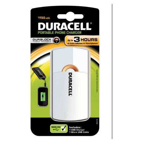 Duracell USB tragbares Ladegerät weiß (Tragbaren Duracell Akku-ladegerät)