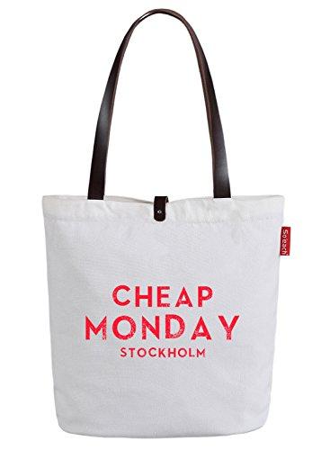 So'each Women's Cheap Monday Graphic Top Handle Canvas Tote Shoulder Bag