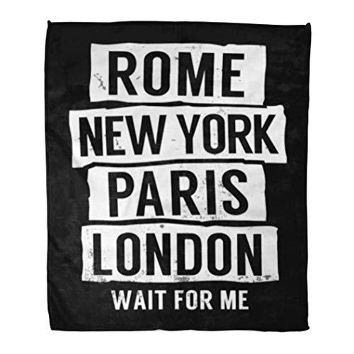 GOIIFLY Throw Blanket Cool Rome New York Paris London Slogan For Graphics...