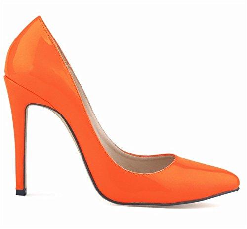 Wealsex Elegante Bonbonfarben Stiletto Damen Pumps Stiletto High Heels 2017 Frühling und Sommer Schuhe Orange