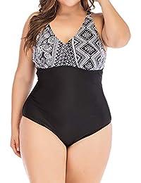 6bd10d31e9e NPRADLA Womens Swimsuit Plus Size Patchwork Printed Costume Padded Swimsuit  Monokini Push Up Bikini Sets Swimwear