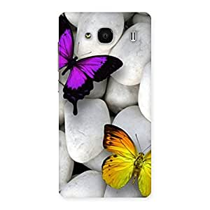 Cute Butterflies white stones Back Case Cover for Redmi 2 Prime