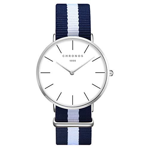 XLORDX Damen Unisex Armbanduhr Quarz modisch Zeitloses Silber Nylon Blau Weiß