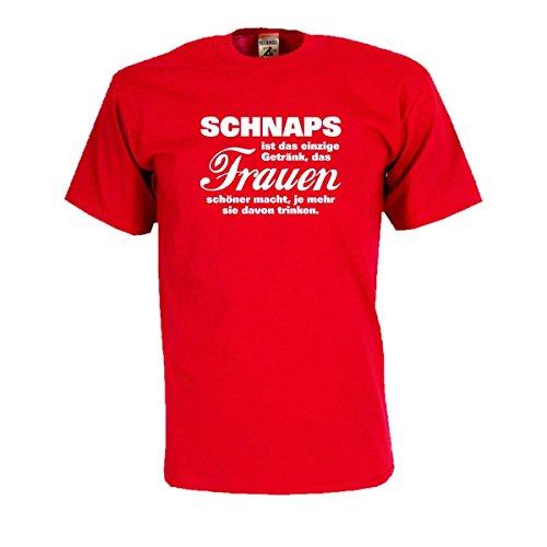 Schnaps ist das einzige Getränk das Frauen schöner macht…, T-Shirt mit witzigen Spruch Spaß Geschenk Party Gag große Größen Funshirt S-5XL (FSB014) Mehrfarbig