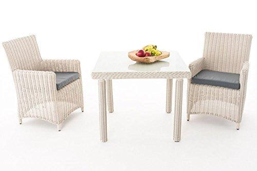Gartenmöbel, Gartenmöbel-Set, Sitzgruppe Dorado M100, perl-weiß / eisen-grau, Polyrattan-Aluminium-Gestell, Gartengarnitur, Sitzgarnitur.