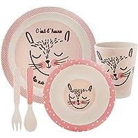 Set de 5 pièces en fibre de BAMBOU : Coffret Mon premier repas - Coloris ROSE