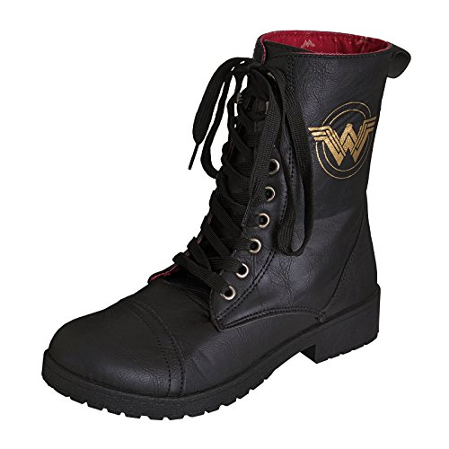 Wonder Woman Damen Boots Stiefel Logo DC Comics Schwarz - 40 (Boots Wonder Womens Woman)