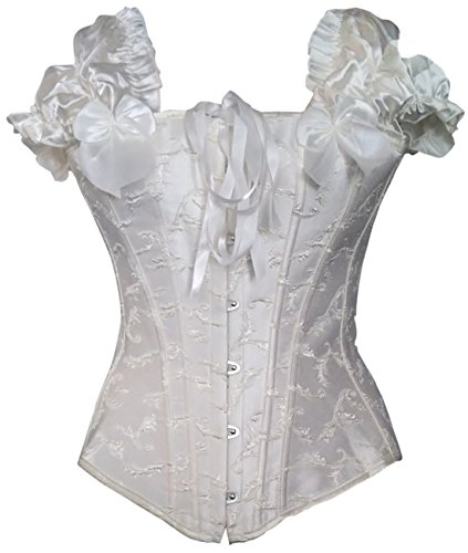 Classic Bridal Off White Steel Boned Embroidered Off Shoulder Corset Top Size Large