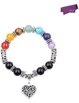 SalesLa 7 Chakra Healing Gleichgewicht Stein Perlen Armband Yoga Reiki Charm Herz-Armbänder