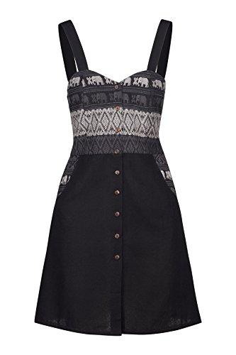Vestido de Algodón Tailandés de Mujer Lofbaz Design #1 Negro M