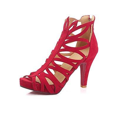 LvYuan Sandali-Ufficio e lavoro Formale Serata e festa-Club Shoes-Quadrato-Felpato-Nero Rosso Verde scuro Red