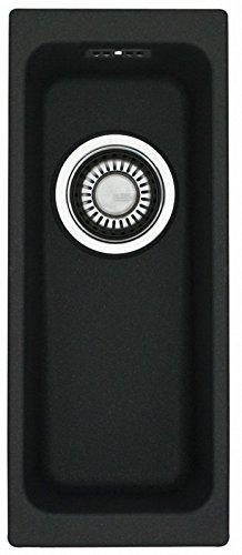 Preisvergleich Produktbild Franke Kubus KBG 110-16 Onyx Granitspüle Schwarz Zugknopf kleines Unterbaubecken