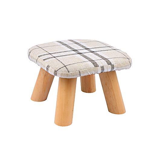 Weehey Ottoman Pouf Cube Stoff Kreative Süße Massivholz Hocker Gepolsterte Fußstütze Folding Storage Fußstütze Sitzhocker mit abnehmbarem Bezug - Schwarz Osmanischen Folding