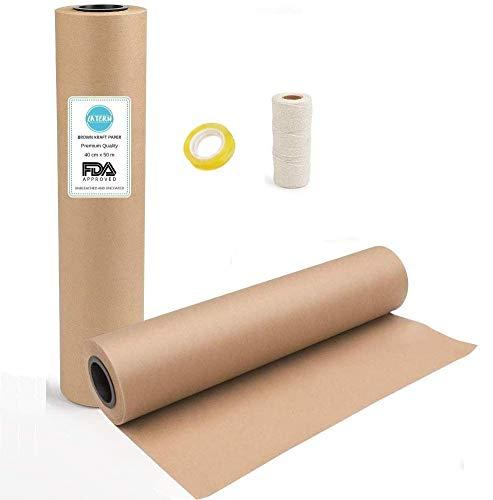 LATERN Braune Kraftpapierrolle 39cm x 50 Meter, Natürliches Recyclingpapier Geschenkpapierrolle für Kunsthandwerk, Kunsthandwerk, Geschenkverpackung, Post, Versand, Packgut und Paket (1 Rolle)