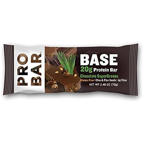 Base, 20 g de proteína de bar, Supergreens chocolate, 12 Bares - ProBAR