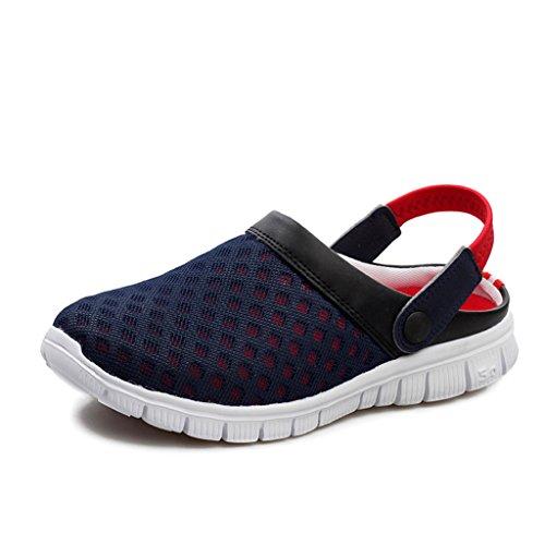 DoGeek Sommer Clogs Atmungsaktiv Mesh Hausschuhe Rutschfest Slippers  Outdoor Strand Sandalen Pantoffeln Flach Sohle Schuhe für