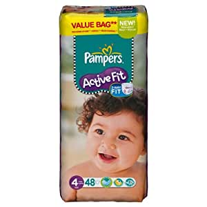 Pampers - 81371229 - Active Fit Couches - Taille 4 Maxi - 7-18 kg - Format Economique x 48 Couches
