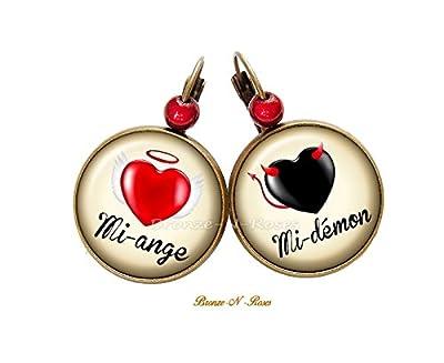 Boucles d'oreilles Mi-ange Mi-démon cabochon noir et rouge bronze dormeuses