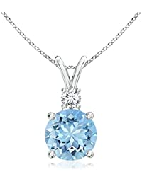 Silvernshine Women's 1.20 Ct Round Aquamarine V-Bail Pendant With Sim. Diamond In 14K White Gold Fn