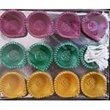 SHREE G Handmade Earthen Clay / Terracotta Decorative Dipawali / Diwali Diya / Tealight / Oil Lamps For Pooja / Puja - Set Of 12 Pcs