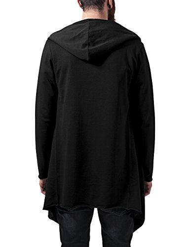 Urban Classics Herren Strickjacke Long Hooded Open Edge Cardigan Schwarz (Black 7)