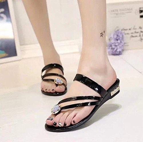 Beach sandali infradito studenti scarpe casual con scarpe basse di strass a fogli mobili Black