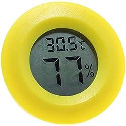 LAAT Hygrometre Electronique,LCD Thermo-Hygromètre,Thermomètre Numérique Pour Reptile Lézard Tortue (Jaune)