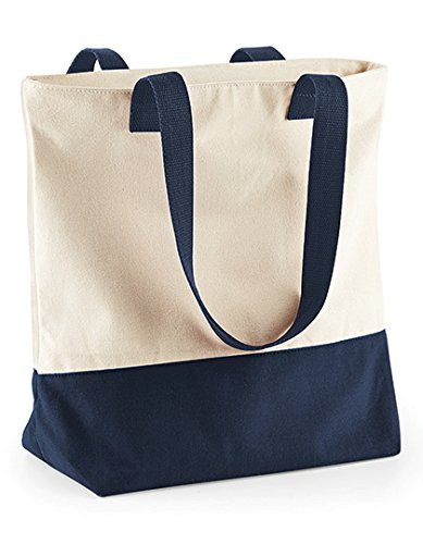 BagBase Westcove Canvas Shopper Natural/French Navy