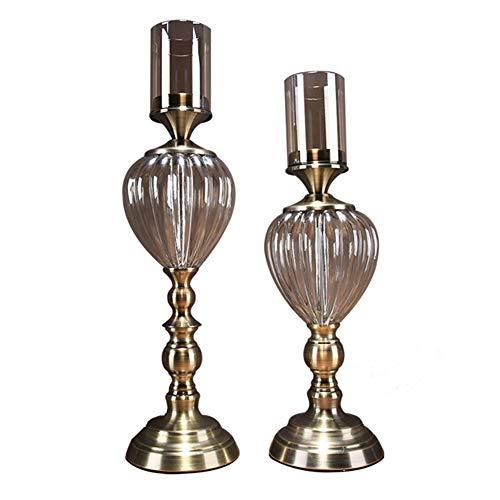 Bougeoirs Ensemble De 2 en Verre De Cristal, Chandelier Vintage pour Une Décoration De Dîner Aux Chandelles Decoration Décoration Classique Européenne