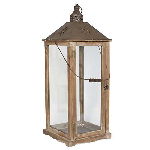 mica-decorations-352707-t-decorative-wooden-lantern-candle-holder-garden-light-with-metal-roof-brown