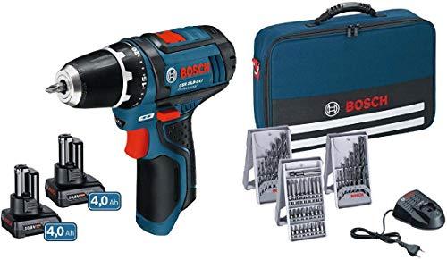 Bosch 0615990HV1 GSR 12V-15 + 2x 4,0Ah in Tasche, 48 W, 12 V, Schwarz, Blau, Rot
