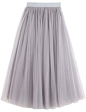 Plisado Falda Tul De Fiesta Tutu Falda Con cintura elástica Princesa Primavera/Verano/Otoño Falda Corto Para Mujer...