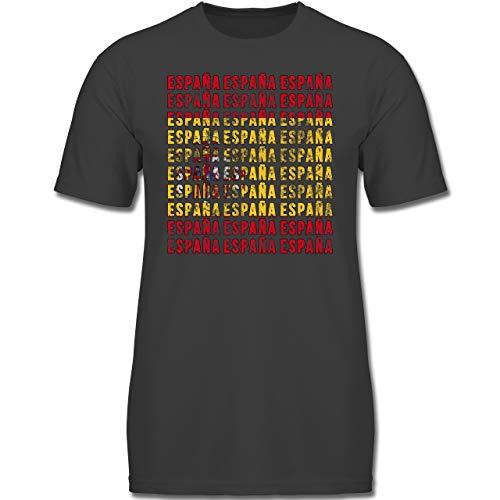 Fußball-Europameisterschaft 2020 Kinder - Espana Vintage Typo - 116 (5-6 Jahre) - Anthrazit - F130K - Jungen Kinder T-Shirt