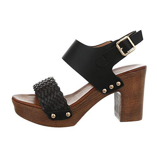 Ital-Design Damenschuhe Sandalen & Sandaletten High Heel Sandaletten Synthetik Schwarz Gr. 38