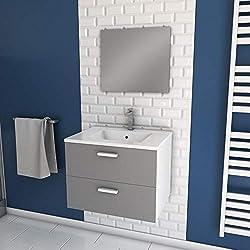 Aurlane Meuble Salle de Bain 60cm monté Suspendu Gris - avec tiroirs - Vasque et Miroir - Box-in 60 Grey