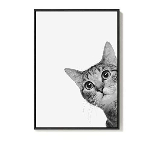 (ZhenFa Einfach schöne süße Katze schwarz-weiß Katze Leben-dekorative Malerei Caféframe hängenden Bild einfach Nordic Wandbild Sofa-Hintergrund Wand-Zeichnung-Kern)