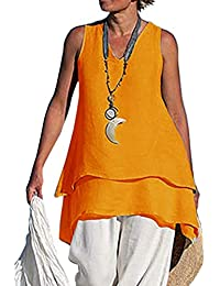 36dfaf158 Mujer Suelto Camiseta Sin Mangas Doble Capa T-Shirt Color Sólido Tamaño  Grande Tops Moda