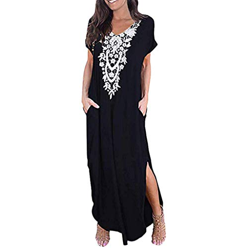 Makefortune  Womens Casual V Neck Short Sleeve Pocket Shirt Dress Split Maxi Dresses Floral Embroided Elegant Ladies Floor Length Long Dress -