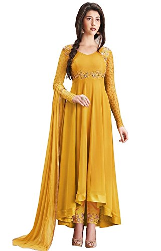 Aria Fabrics Women\'s Faux Georgette Semi-stitched Embroidered Anarkali Salwar Suit Material (Yellow, Free Size)